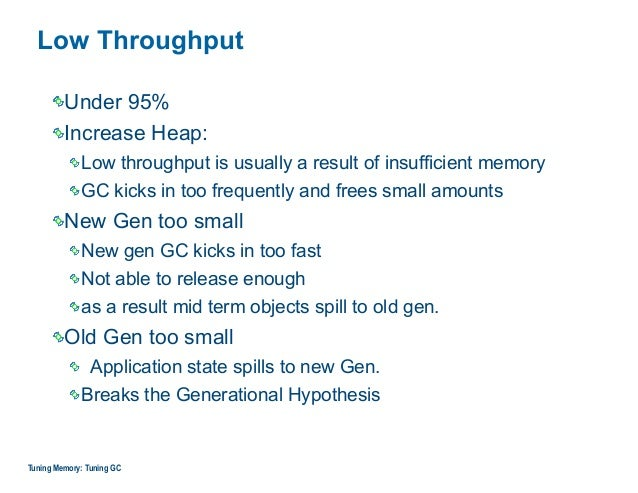 Low Throughput Under 95% Increase Heap: Low throughput is usually a result of insufficient memory GC kicks in too frequent...