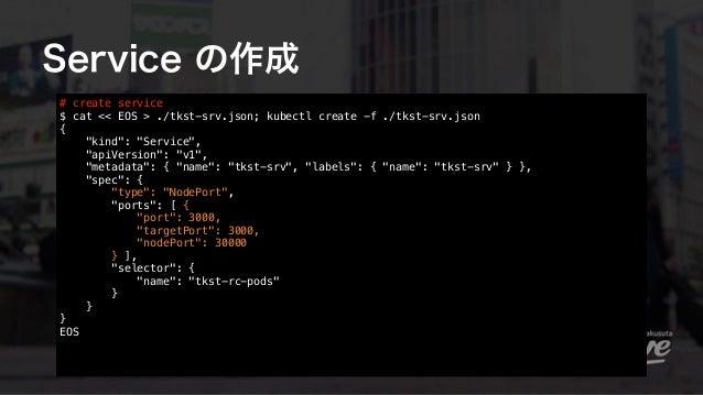"Service の作成 # create service $ cat << EOS > ./tkst-srv.json; kubectl create -f ./tkst-srv.json { ""kind"": ""Service"", ""apiV..."
