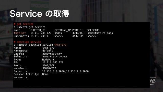 Service の取得 # get service $ kubectl get service NAME CLUSTER_IP EXTERNAL_IP PORT(S) SELECTOR tkst-srv 10.119.246.120 node...
