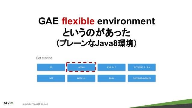 copyright Fringe81 Co.,Ltd. GAE flexible environment というのがあった (プレーンなJava8環境)