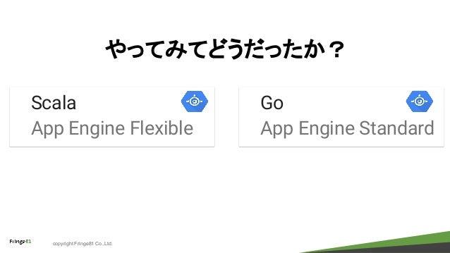 copyright Fringe81 Co.,Ltd. やってみてどうだったか? Go App Engine Standard Scala App Engine Flexible