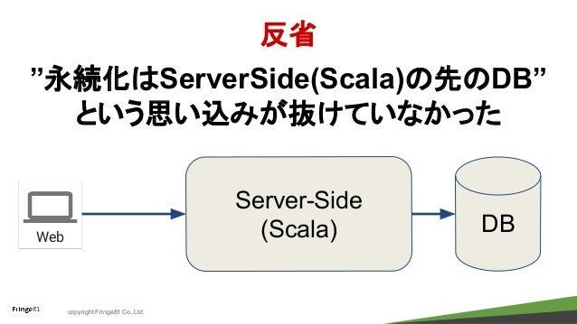 "copyright Fringe81 Co.,Ltd. 反省 ""永続化はServerSide(Scala)の先のDB"" という思い込みが抜けていなかった Server-Side (Scala) DBWeb"