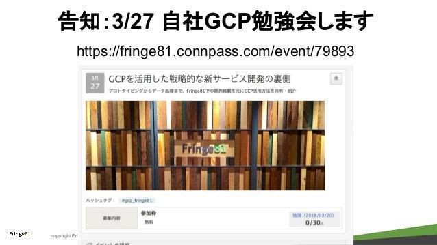 copyright Fringe81 Co.,Ltd. 告知:3/27 自社GCP勉強会します https://fringe81.connpass.com/event/79893