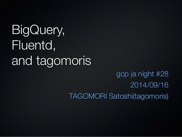 BigQuery,  Fluentd,  and tagomoris  gcp ja night #28  2014/09/16  TAGOMORI Satoshi(tagomoris)