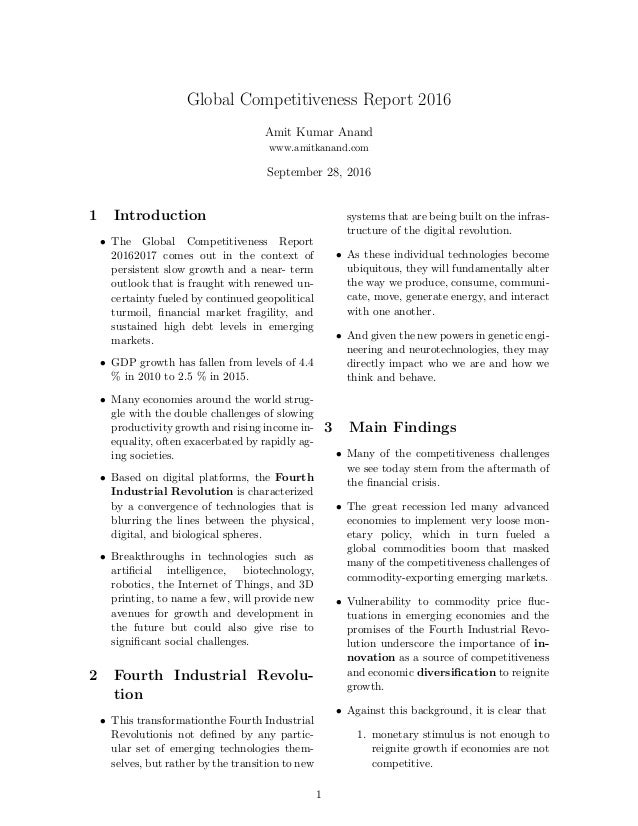 Global Competitiveness Report 2016 Amit Kumar Anand www.amitkanand.com September 28, 2016 1 Introduction • The Global Comp...