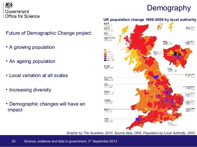 20 Science, evidence and data in government, 3rd September 2013 Demography Future of Demographic Change project: • A growi...