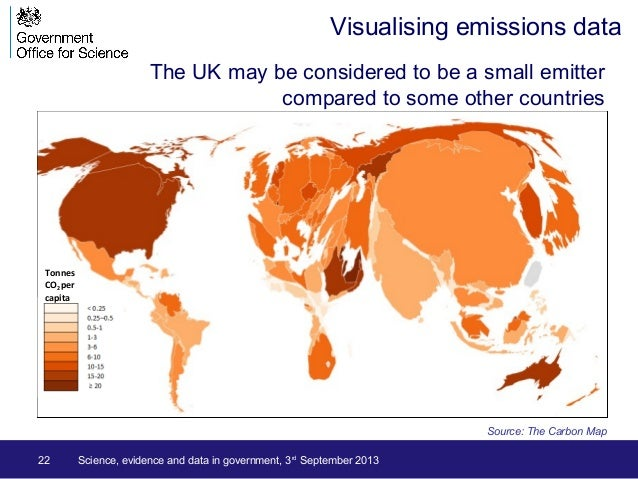 The UK may be considered to be a small emitter compared to some other countries 22 Source: The Carbon Map Tonnes CO2 per c...