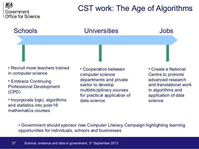 37 CST work: The Age of Algorithms Schools Universities Jobs • Recruit more teachers trained in computer science • Embrace...