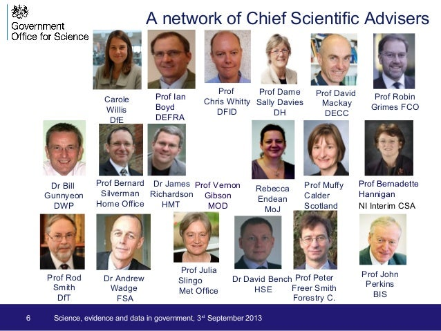 6 Science, evidence and data in government, 3rd September 2013 A network of Chief Scientific Advisers Prof Chris Whitty DF...