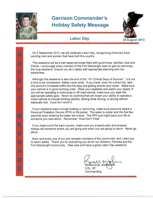 Gc safety message labor day