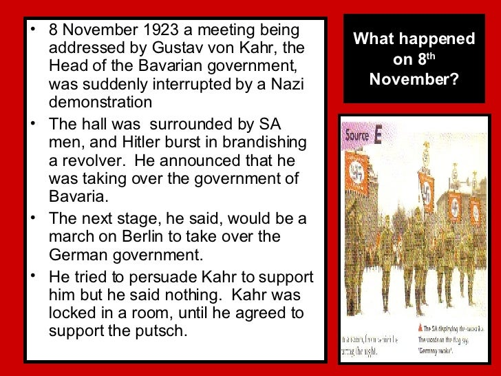 was the munich putsch of 1923 a success? essay A powerpoint going through the munich putsch and whether it was a failure or a success the starter is a set of questions on the munich putsch scene in the rise of evil and the homework is an exam question   please feel free to leave a commen.