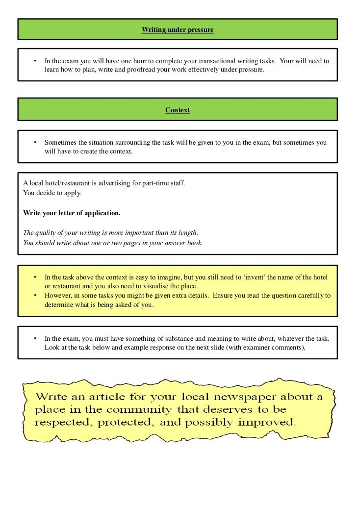 Revision Booklet For Gcse English Unit 2 Exam