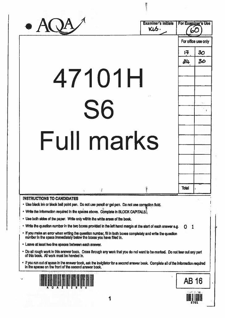 Gcse english literature tier h (s6) full marks