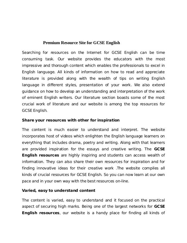 Premium Resource Site for GCSE English Searching for resources on the Internet for GCSE English can be time consuming task...