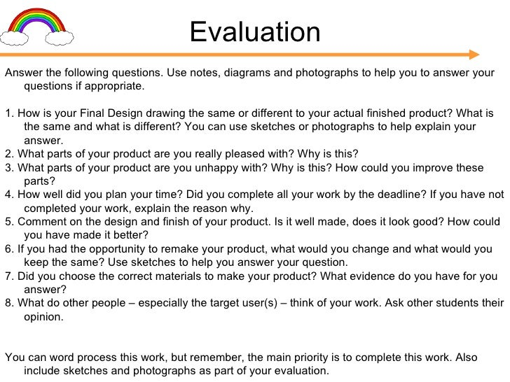 as product design coursework evaluation