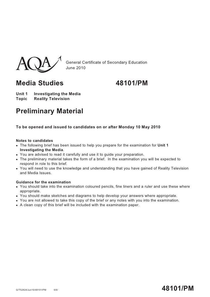General Certificate of Secondary Education                                  June 2010   Media Studies                     ...