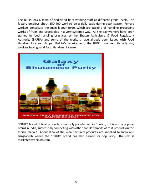 Global Country Study Report On Fruit Industry Of Bhutan Mba Semester