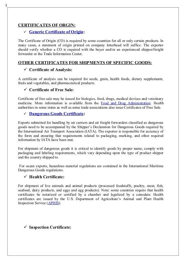 Gcsr report BY JITHARA DHARMESH – Generic Certificate of Origin