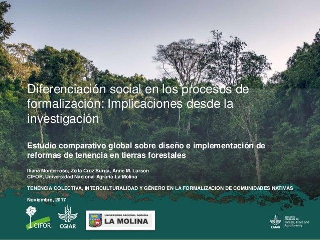 Iliana Monterroso, Zoila Cruz Burga, Anne M. Larson CIFOR, Universidad Nacional Agraria La Molina TENENCIA COLECTIVA, INTE...