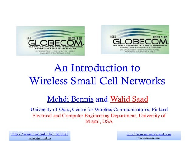 An I t d ti t              A Introduction to         Wireless Small Ce Ne wo s         W e ess S      Cell Networks       ...