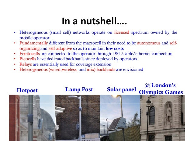 Inanutshell….• Heterogeneous (small cell) networks operate on licensed spectrum owned by the  mobile operator• Fundament...