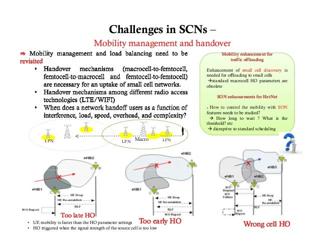 Challenges in SCNs –                                   Mobility management and handover                                   ...