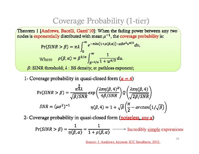 Coverage Probability (1-tier)Where                                           Incredibly simple expressions                ...