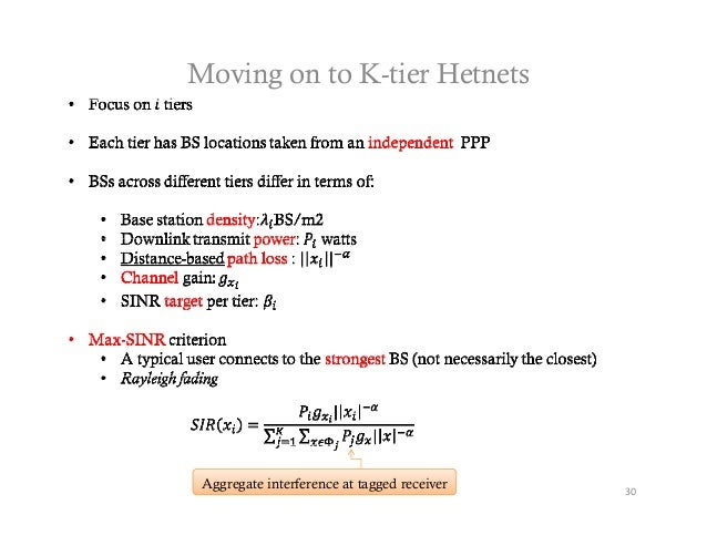Moving on to K-tier Hetnets Aggregate interference at tagged receiver   30
