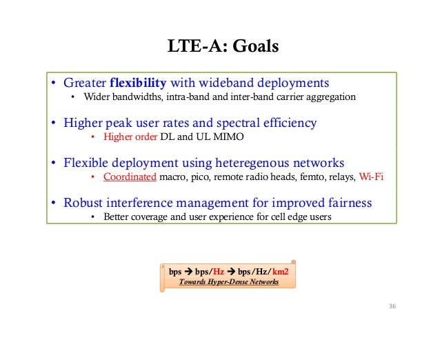 LTE-A: Goals• Greater flexibility with wideband deployments   • Wider bandwidths, intra-band and inter-band carrier aggreg...
