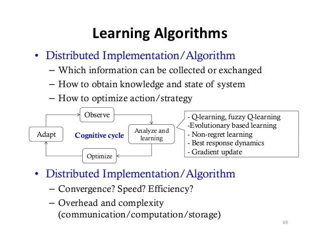 LearningAlgorithms• Distributed Implementation/Algorithm   – Which information can be collected or exchanged   – How to o...