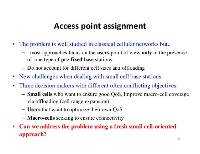 Accesspointassignment                 Access point assignment• The problem is well studied in classical cellular network...