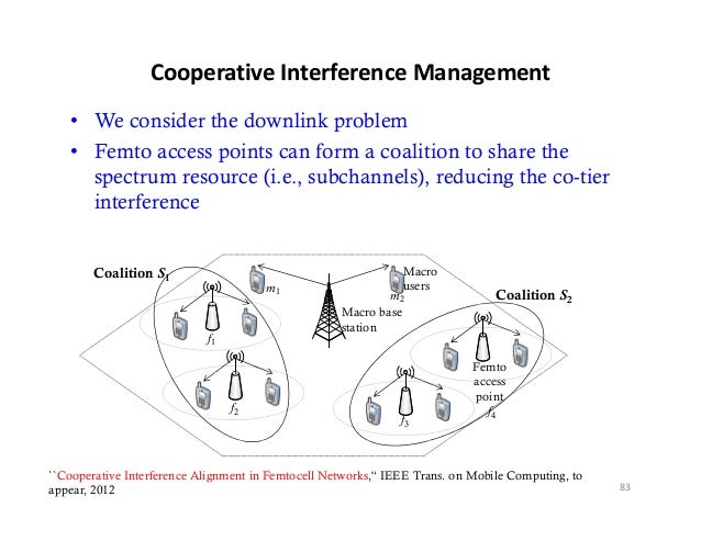CooperativeInterferenceManagement   • We consider the downlink problem   • Femto access points can form a coalition to s...