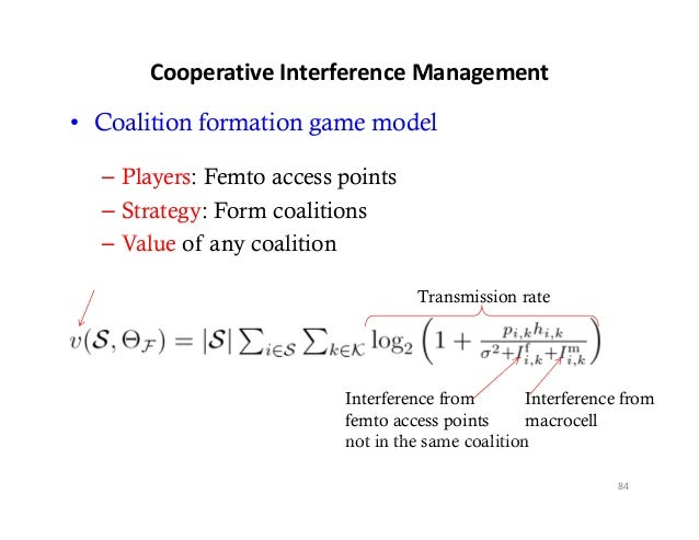 CooperativeInterferenceManagement• Coalition formation game model  – Players: Femto access points  – Strategy: Form coal...