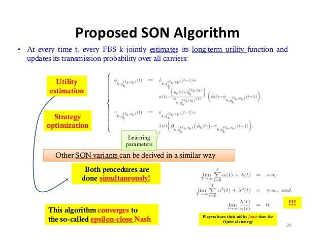 ProposedSONAlgorithm• At every time t, every FBS k jointly estimates its long-term utility function and  updates its tra...