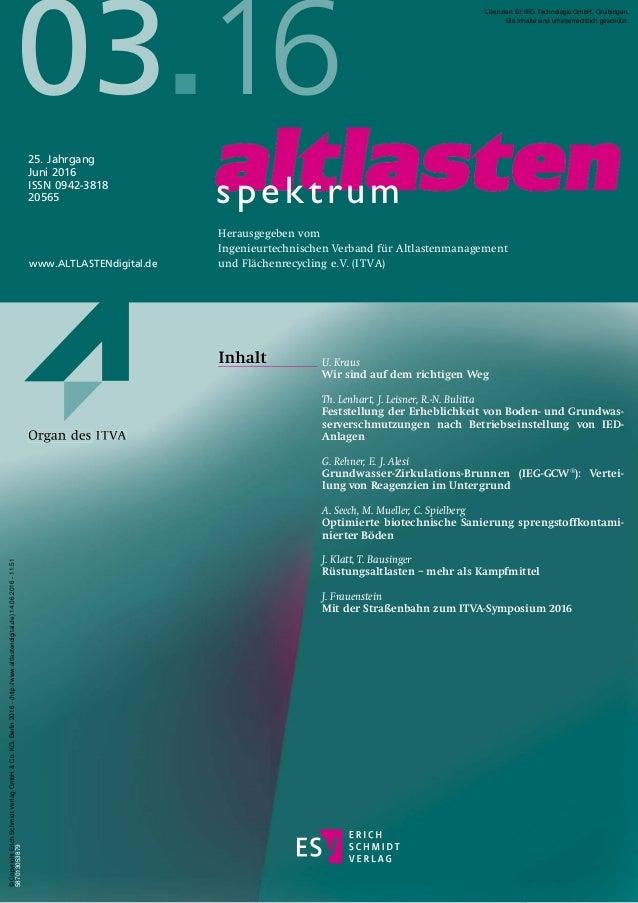 U. Kraus Wir sind auf dem richtigen Weg Th. Lenhart, J. Leisner, R.-N. Bulitta Feststellung der Erheblichkeit von Boden- u...