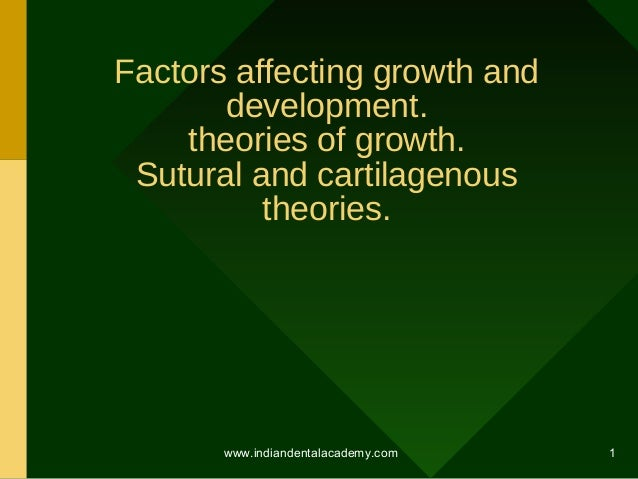 Factors affecting growth and development. theories of growth. Sutural and cartilagenous theories.  www.indiandentalacademy...