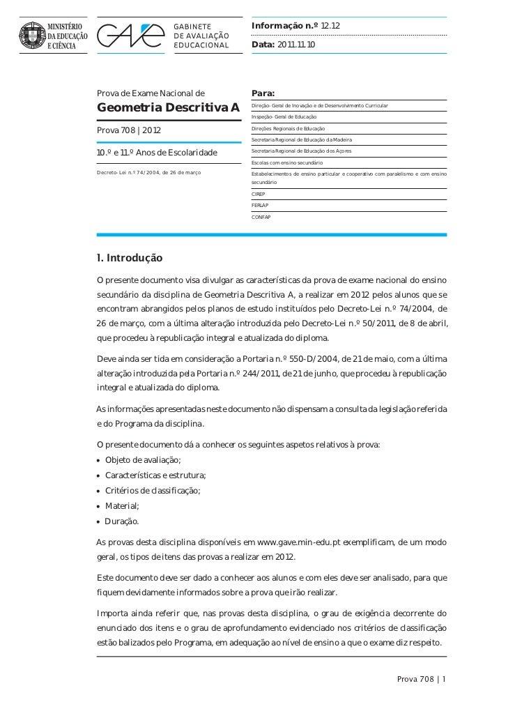 Informação n.º 12.12                                          Data: 2011.11.10Prova de Exame Nacional de                Pa...