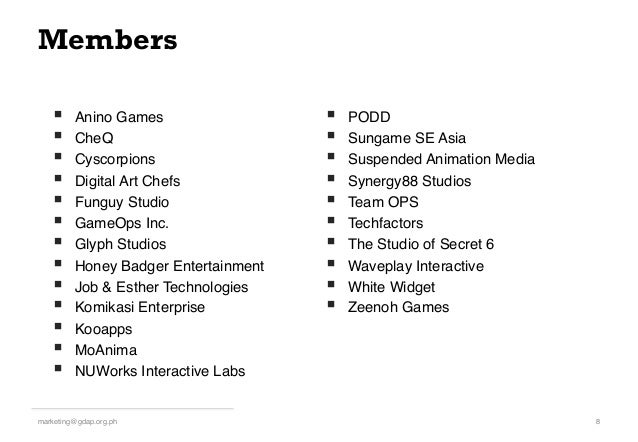 Members § Anino Games! § CheQ! § Cyscorpions! § Digital Art Chefs! § Funguy Studio! § GameOps Inc.! § Glyph ...