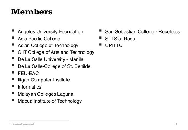 Members § Angeles University Foundation! § Asia Pacific College! § Asian College of Technology! § CIIT College of A...
