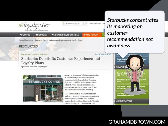 GRAHAMDBROWN.COM Starbucks concentrates  its marketing on  customer  recommendation not  awareness