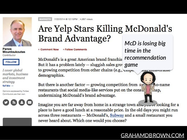 GRAHAMDBROWN.COM McD is losing big  time in the  recommendation  game