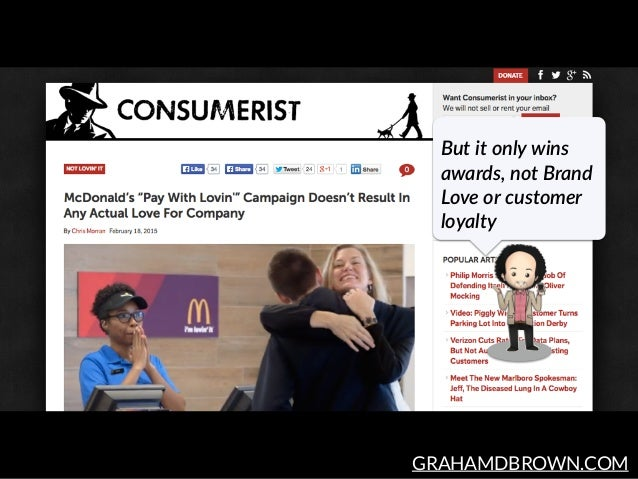 GRAHAMDBROWN.COM But it only wins  awards, not Brand  Love or customer  loyalty