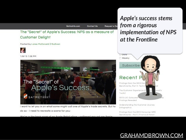GRAHAMDBROWN.COM Apple's success stems  from a rigorous  implementation of NPS  at the Frontline