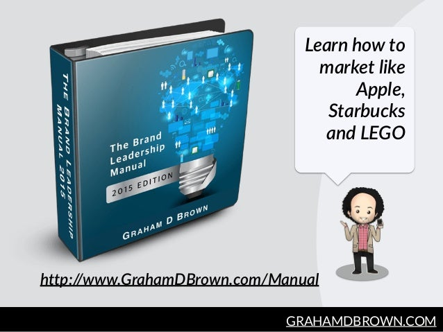 GRAHAMDBROWN.COM162 Learn how to  market like  Apple,  Starbucks  and LEGO http://www.GrahamDBrown.com/Manual