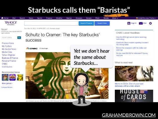 "GRAHAMDBROWN.COM Starbucks calls them ""Baristas"" Yet we don't hear  the same about  Starbucks…"