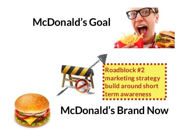 GRAHAMDBROWN.COM99 McDonald's Brand Now McDonald's Goal Roadblock #2 marketing strategy build around short term awareness