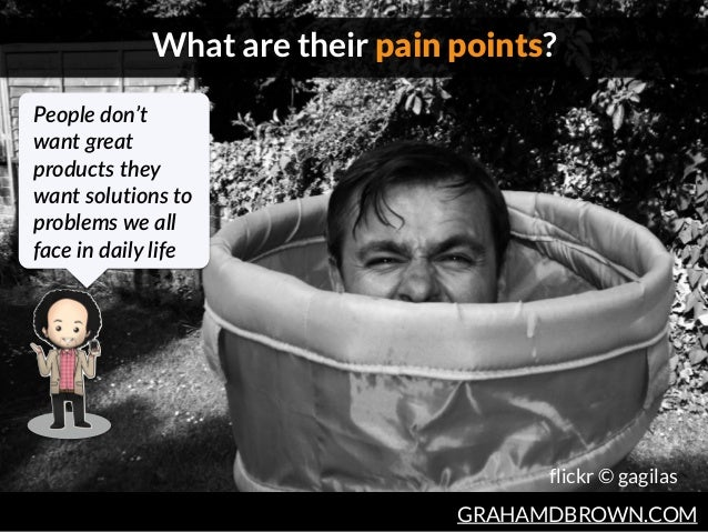 GRAHAMDBROWN.COM What are their pain points? flickr © gagilas People don't  want great  products they  want solutio...