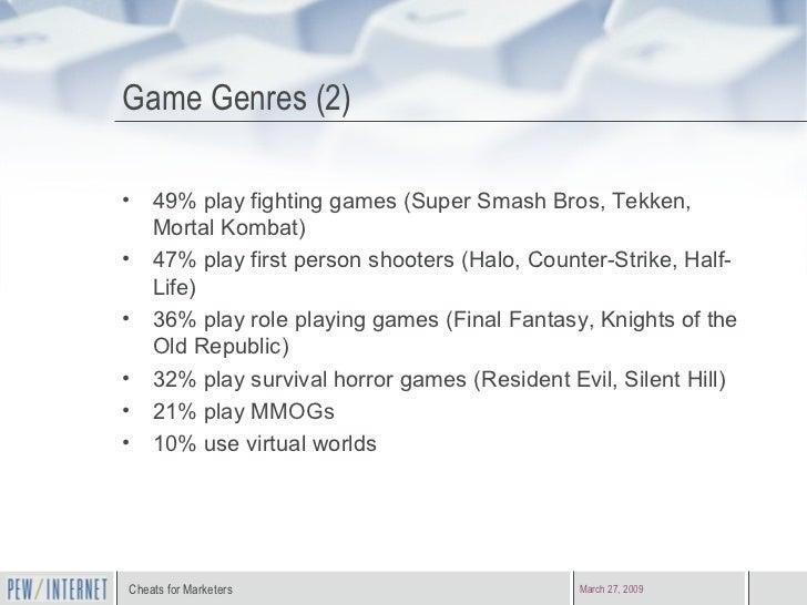 Game Genres (2) <ul><li>49% play fighting games (Super Smash Bros, Tekken, Mortal Kombat) </li></ul><ul><li>47% play first...