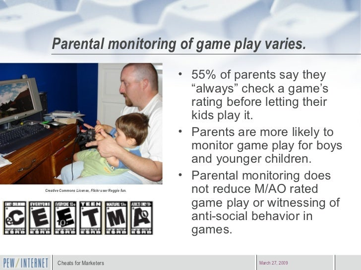 """Parental monitoring of game play varies. <ul><li>55% of parents say they """"always"""" check a game's rating before letting the..."""