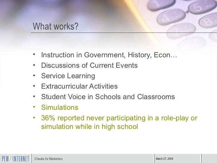 What works? <ul><li>Instruction in Government, History, Econ… </li></ul><ul><li>Discussions of Current Events </li></ul><u...